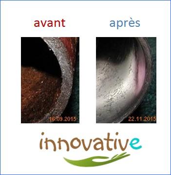 coupe tuyau chauffage avant après pose désemboueur vortex ecologique - desemboueur naturel innovative